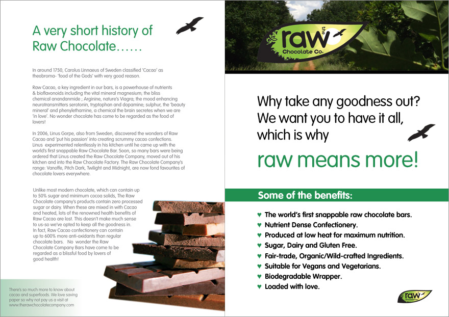Leaflet design for The Raw Chocolate Company. Front and back.