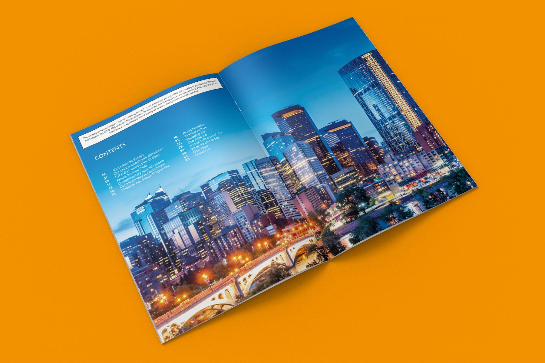 Corporate brochure design inside spread example 1