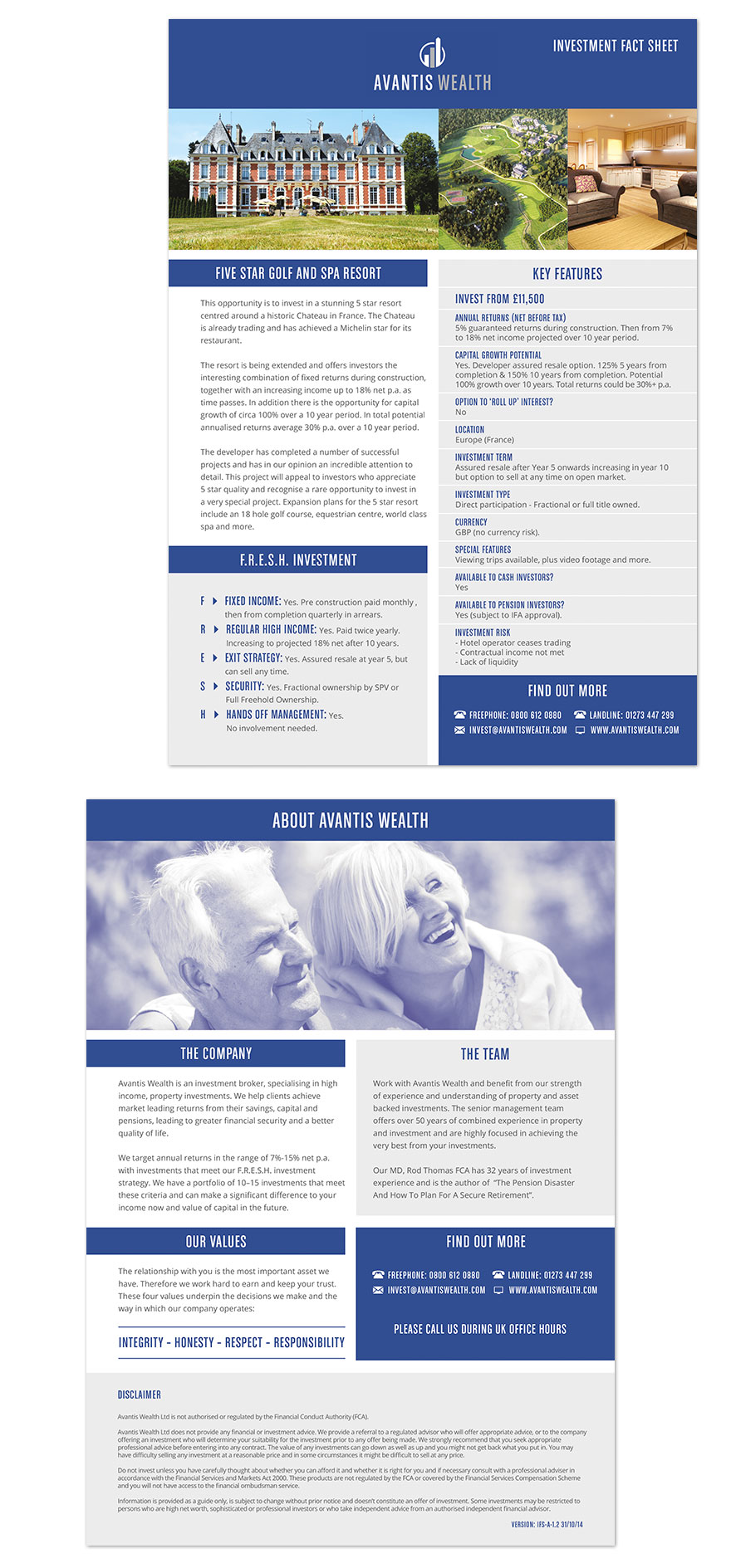 Avantis Wealth factsheet design, used for every investment opportunity to highlight key information and stats.