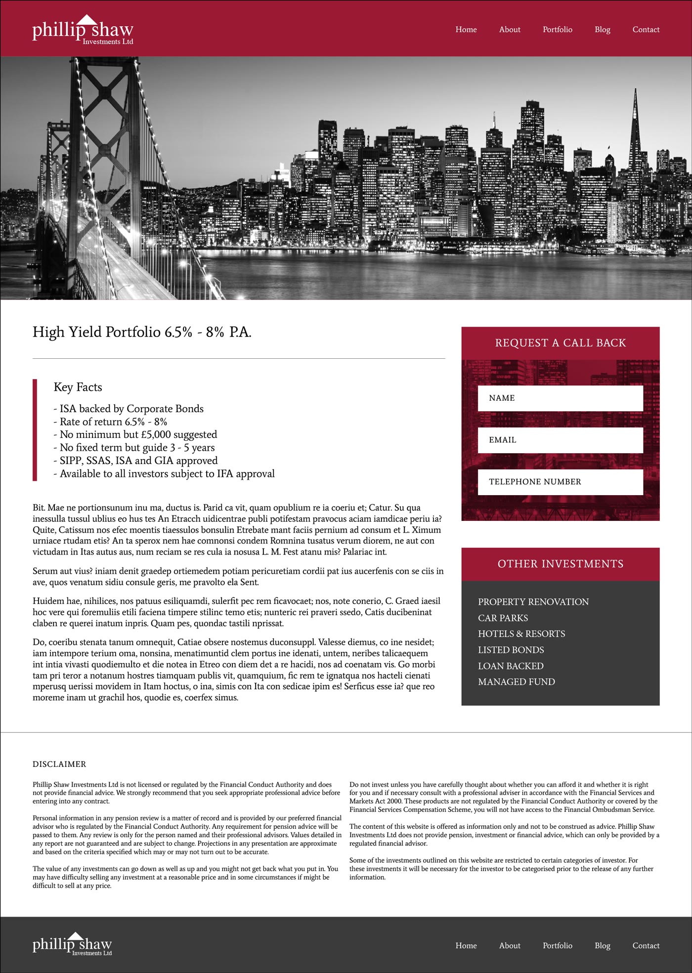 Investment page example